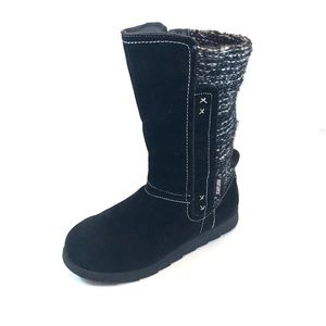 MUKLUKS Black Faux Suede and Sweater Winter Boots